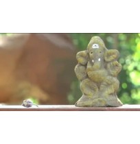 Small Eco Friendly Ganesha with Tulasi Seeds (Made out of Desi Cow Dung & Turmeric)