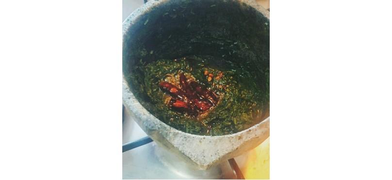 Spinach Masiyal in Soapstone vessel