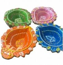 KUTCH Clay Diyas (Multicolour,Set of 4)